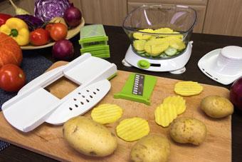 Рифлёная нарезка картофеля на слайсере чоппера Konstar