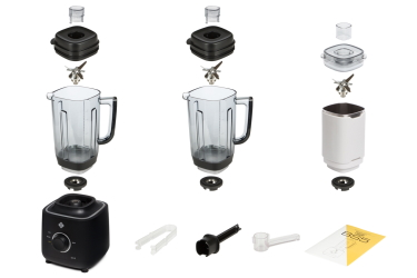 Комплектация блендера L'equip BS5 (чёрный, тритановая и стальная чаши и шумоизоляционный колпак)