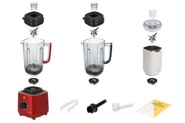 Комплектация блендера L'equip BS5 (красный, тритановая и стальная чаши и шумоизоляционный колпак)