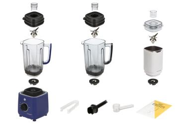 Комплектация блендера L'equip BS5 (сапфировый, тритановая и стальная чаши и шумоизоляционный колпак)