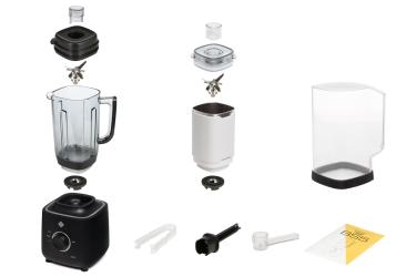 Комплектация блендера L'equip BS5 (чёрный, стальная чаша и шумоизоляционный колпак)