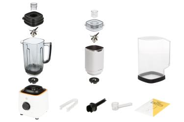 Комплектация блендера L'equip BS5 (белый, стальная чаша и шумоизоляционный колпак)