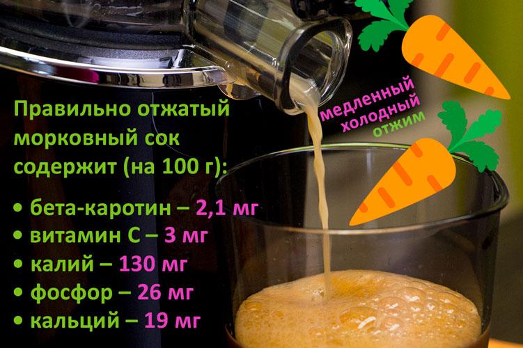 Полезный морковный сок медленного холодного отжима