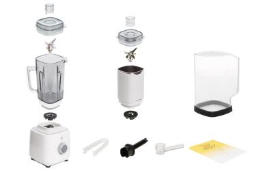 Комплектация блендера L'equip BS7 (белый, стальная чаша и шумоизоляционный колпак)