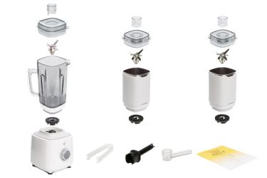 Комплектация блендера L'equip BS7 Quattro (белый, 2 стальные чаши)