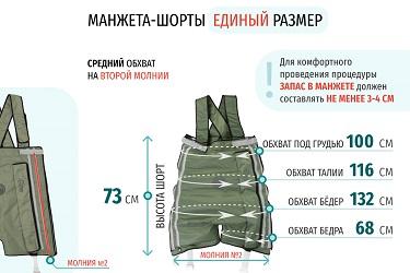 Размеры массажных шорт на 2 молнии