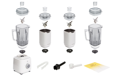 Комплектация блендера L'equip BS7 Quattro (белый, две тритановые и две стальные чаши + колпак)
