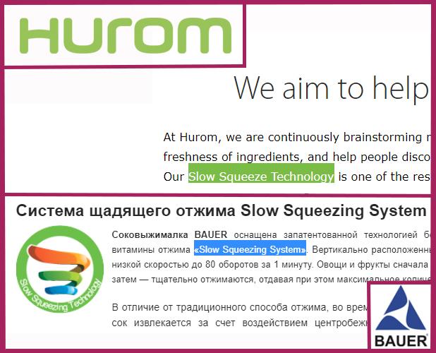Запатентованная технология медленного отжима Хюром и «Slow Squeezing System» соковыжималки Бауэр