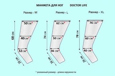 Размеры манжет для ног