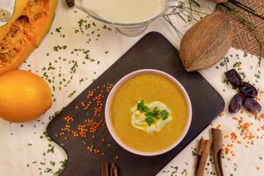 Постный тыквенный суп со жмыхом
