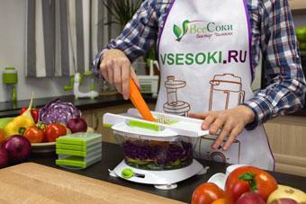 Измельчение моркови на тёрке чоппера Konstar