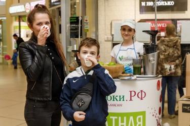 Дегустация зелёных соков в ТРК «Невский»