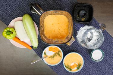 Сыроедческий суп-пюре из овощей в блендере L'equip BS5
